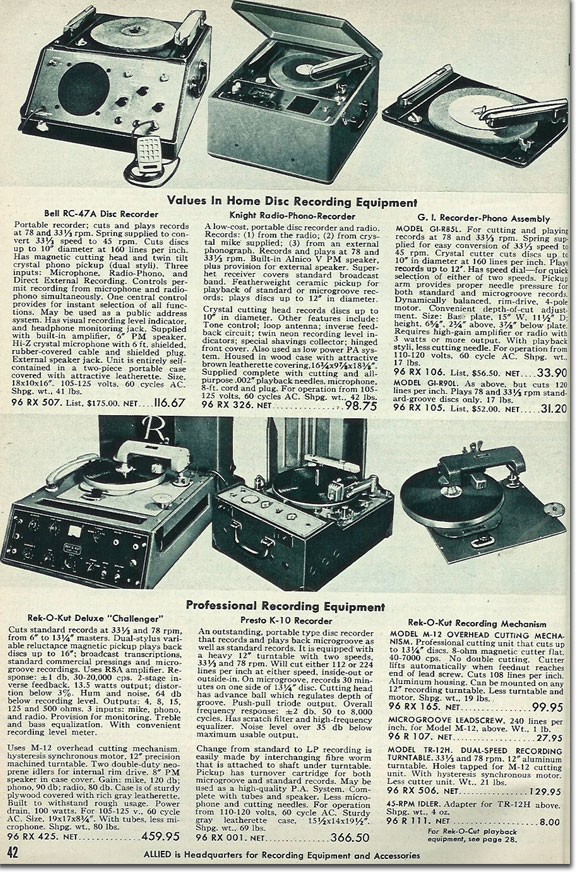 picture of disc recorders available in the 1954 Allied Radio catalog