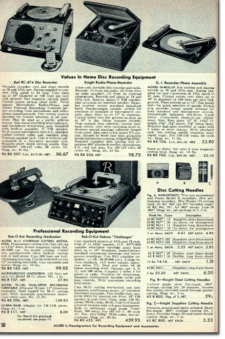 picture of record cutting equipment in the 1955 Allied Radio catalog