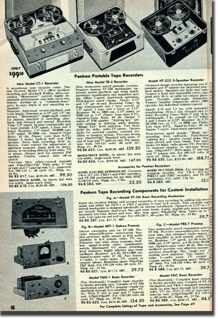 picture of tape recorders in the 1955 Allied Radio catalog