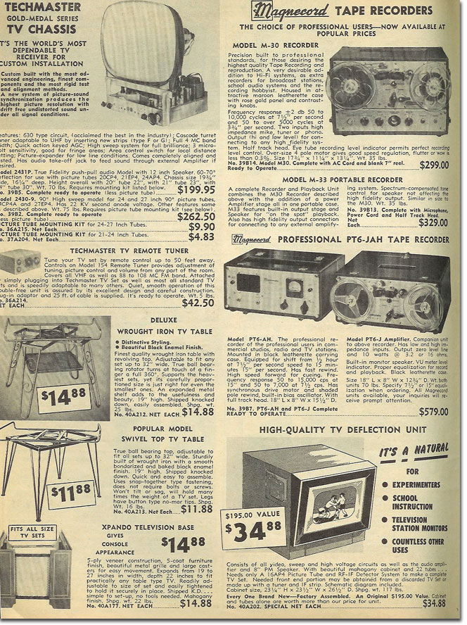picture of Magnecorder recorders in the 1955 Burstein Applebee catalog