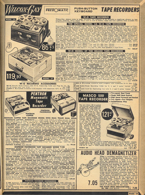 picture of 1955 Lafayette Radio catalog in Phantom's reel to reel recorder collection