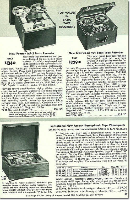 picture of  reel tape recorders in the 1956 Allied Radio catalog