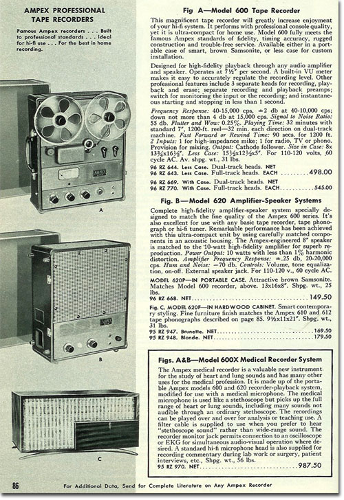 picture of Ampex reel tape recorders in the 1956 Allied Radio catalog