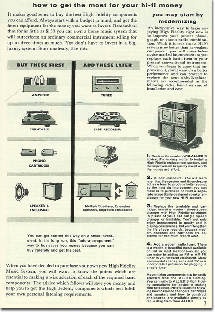 picture of  HiFi information in the 1956 Allied Radio catalog
