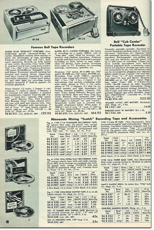 picture of tape recorders in the 1956 Allied Radio catalog
