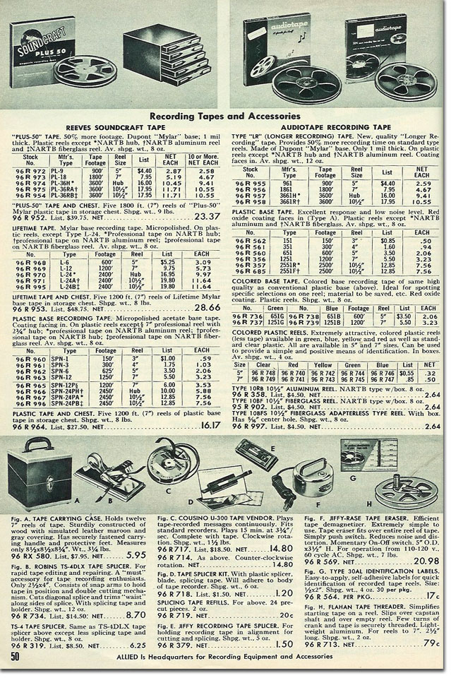 picture of tape recorder accessories in the 1956 Allied Radio catalog