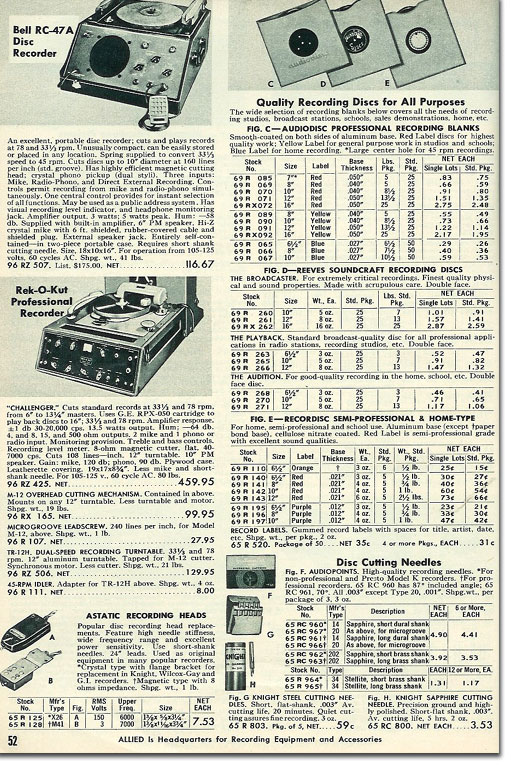 picture of disc recorder accessories in the 1956 Allied Radio catalog