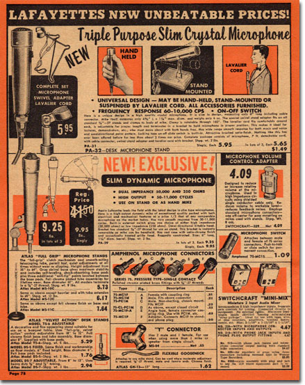 picture of microphones in the1956 Lafayette sale catalog