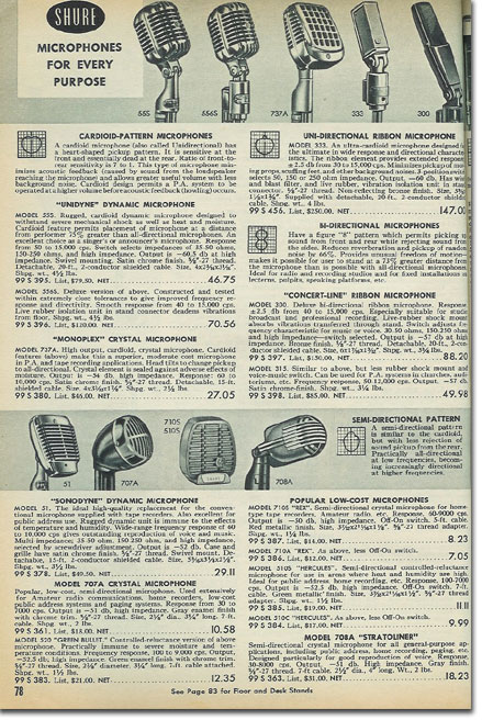 picture of microphones in the 1957 Allied Radio catalog