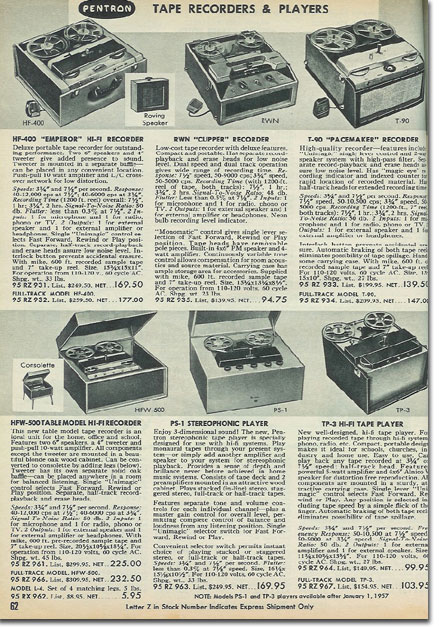 picture of recorders in the 1957 Allied Radio catalog