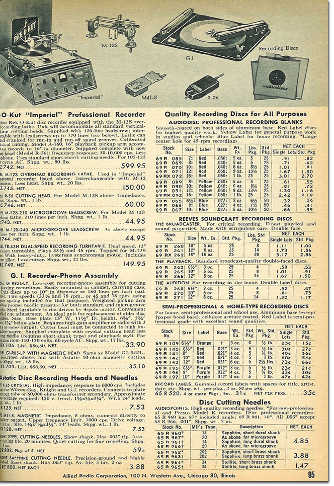 picture of disc recorders in the 1958 Allied Radio catalog