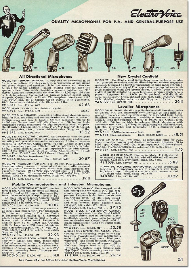 picture of Electro Voice microphones in the 1958 Allied Radio catalog