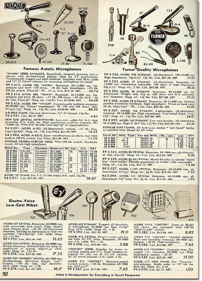 picture of microphones in the 1958 Allied Radio catalog