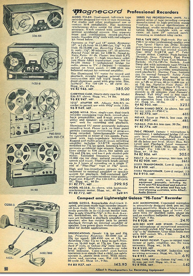picture of reel to reel tape recorders in the 1958 Allied Radio catalog