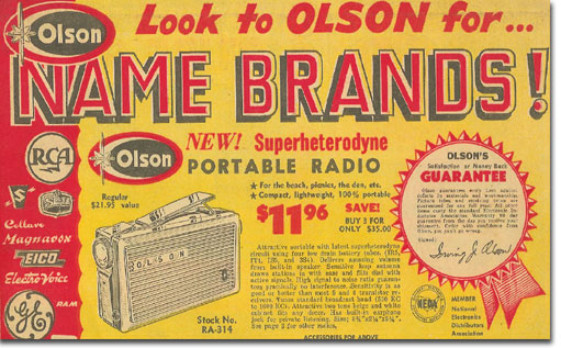 picture of 1958 Olson Radio catalog