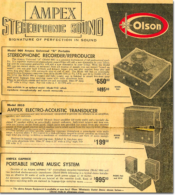 picture of Ampex recorders in the 1958 Olson Radio catalog