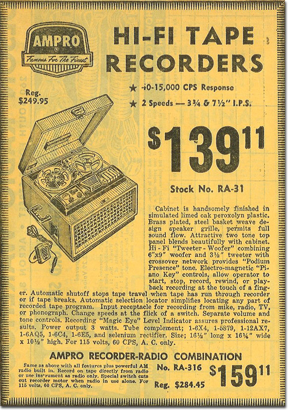 picture of Ampro recorders in the 1958 Olson Radio catalog
