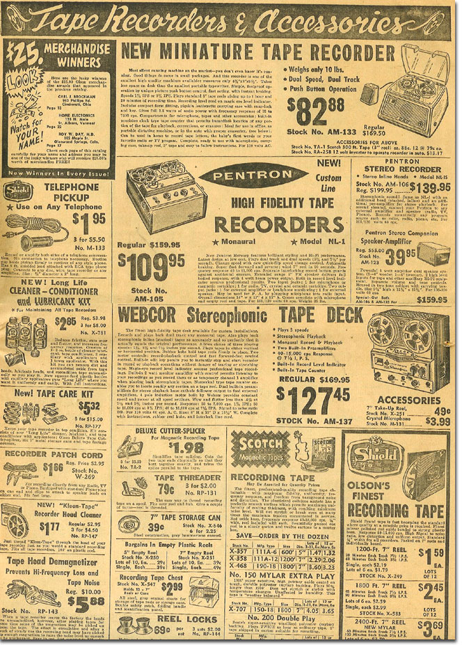 picture of tape recorders in the 1958 Olson Radio catalog