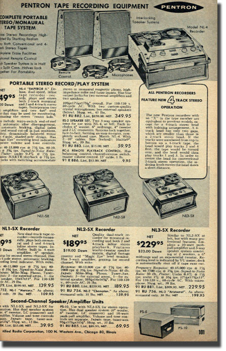 picture of page from 1959 Allied Radio catalog showing reel to reel recorders for sale