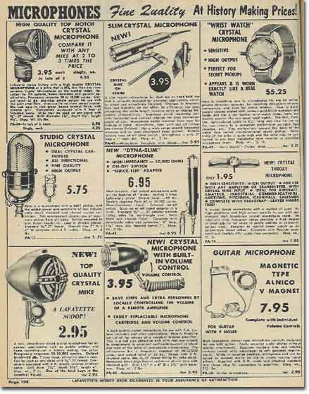 picture of microphones in the 1959 Lafayette Radio catalog