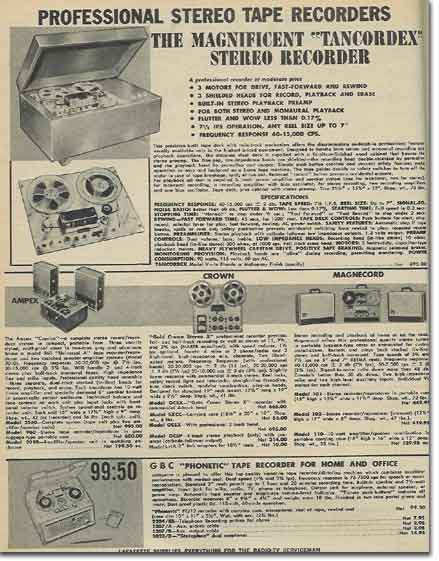 picture of tape recorders in the 1959 Lafayette Radio catalog