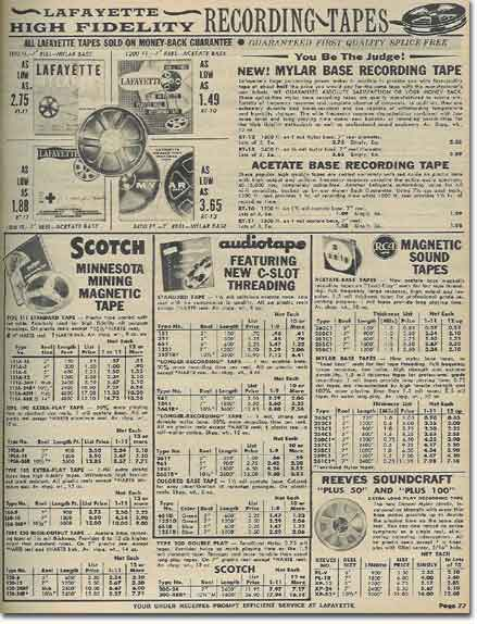 picture of tape assessories in the 1959 Lafayette Radio catalog