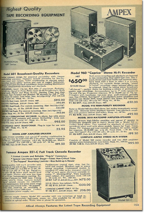 picture of tape recorders in the 1960 Allied Radio cataloag