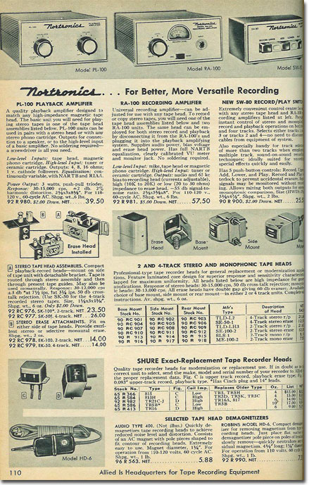 picture of Nortronics tape recorder assessories  in the 1960 Allied Radio cataloag