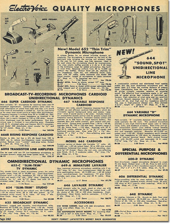 picture of microphomes available in the 1970 Lafayette radio catalog