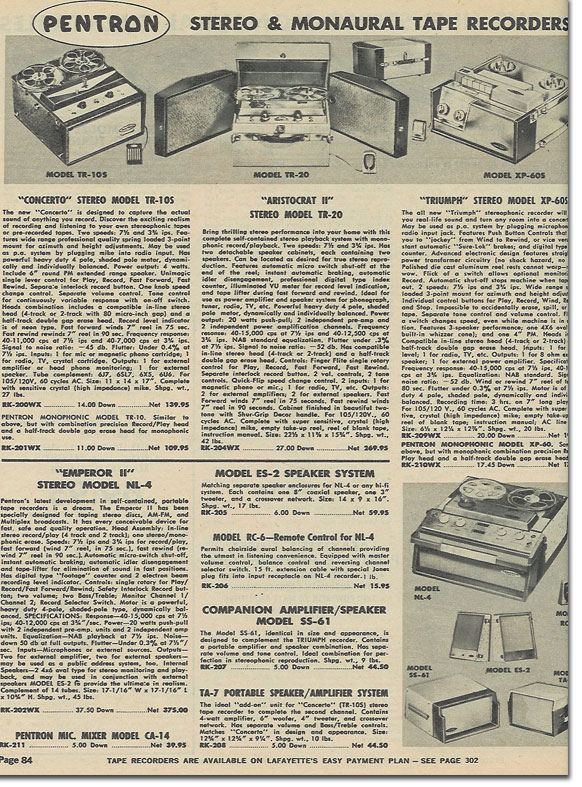 picture of reel tape recorders in the 1970 Lafayette radio catalog