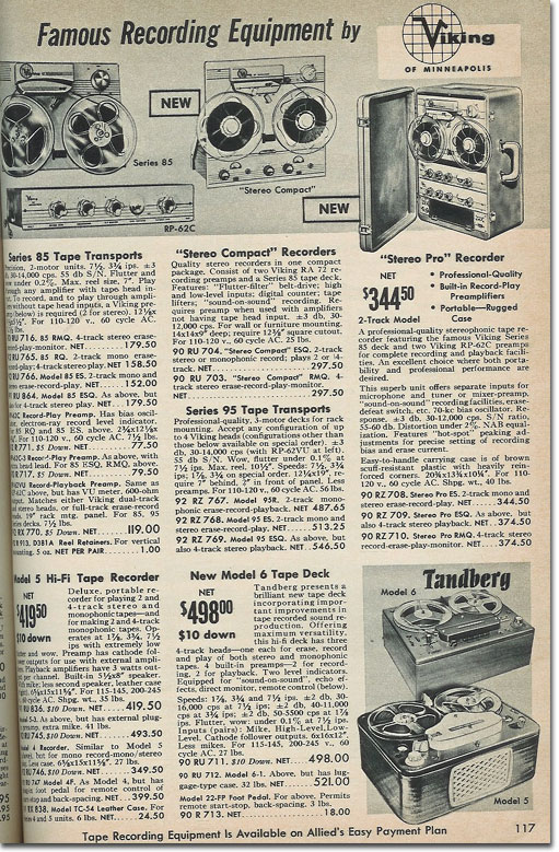 picture of recorder in the 1961 Allied Radio catalog