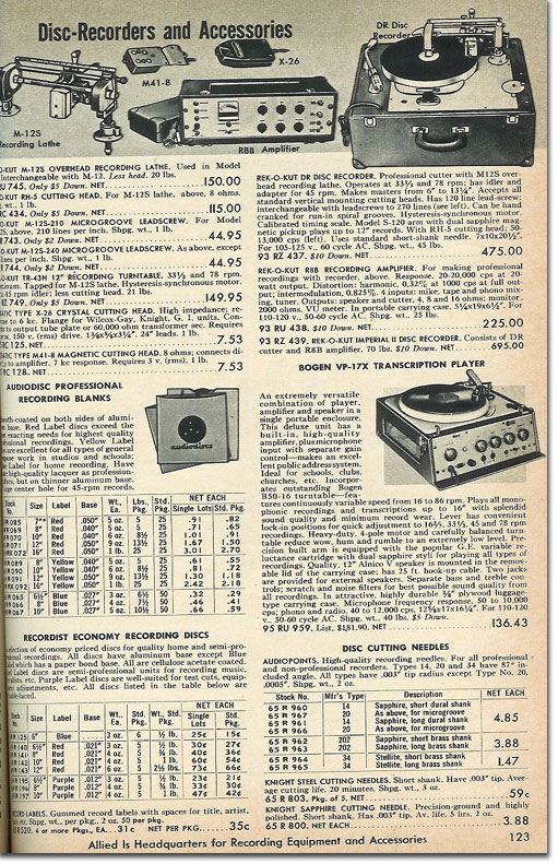 picture of recorders in the 1961 Allied Radio catalog