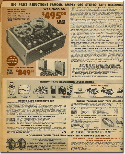 picture of Ampex tape recorder in 1961 Burstein Applebee catalog