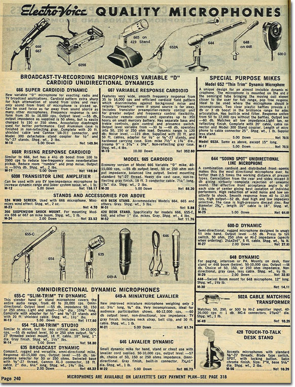 picture of  microphones in the 1961 Lafayette Radio catalog