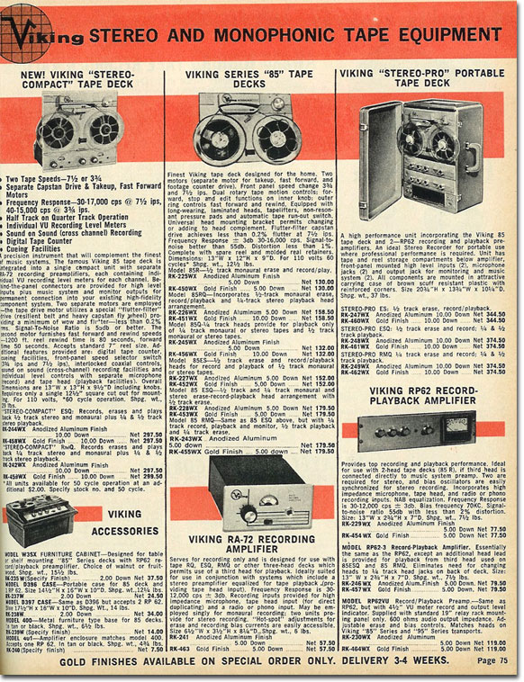 picture of  reel tape recorders in the 1961 Lafayette Radio catalog