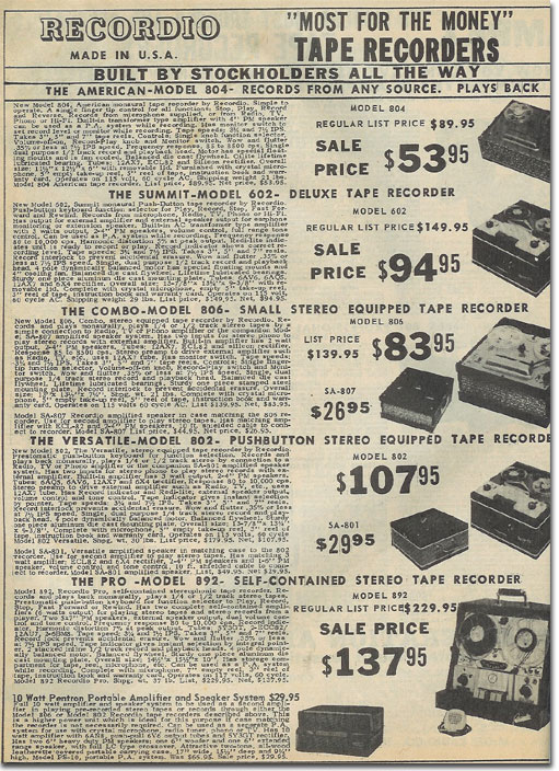 picture of items in the 1961 McGee Radio catalog