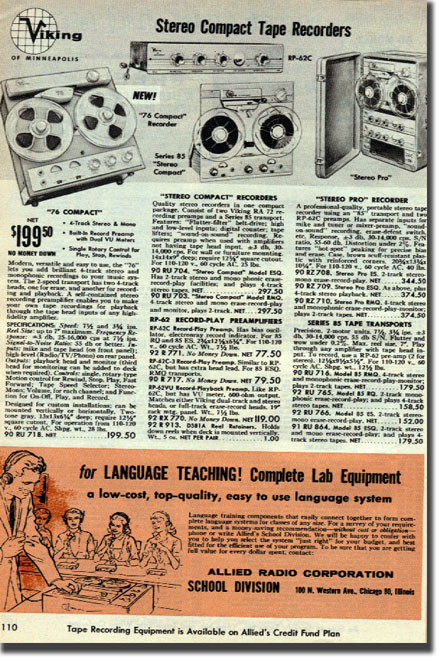 picture of tape recorders in 1962 Allied Radio catalog