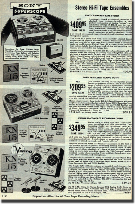 picture of tape recorders in the 1962 Allied Radio catalog