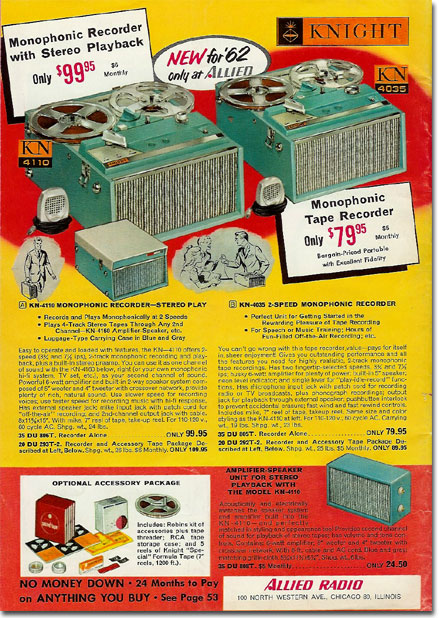picture of Allied tape recorders from the 1962 sale catalogs