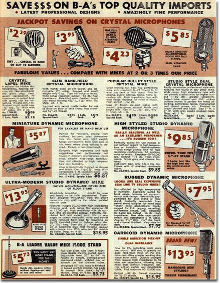 picture of microphones in the 1962 Burstein Applebee radio catalog
