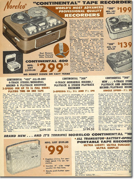 picture of Norelco recorders in the 1962 BA catalog
