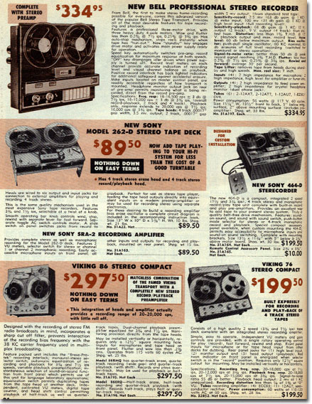 picture of recorders in the 1962 Burstein Applebee radio catalog