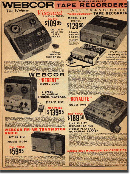 picture of tape recorders from 1962 McGee radio catalog