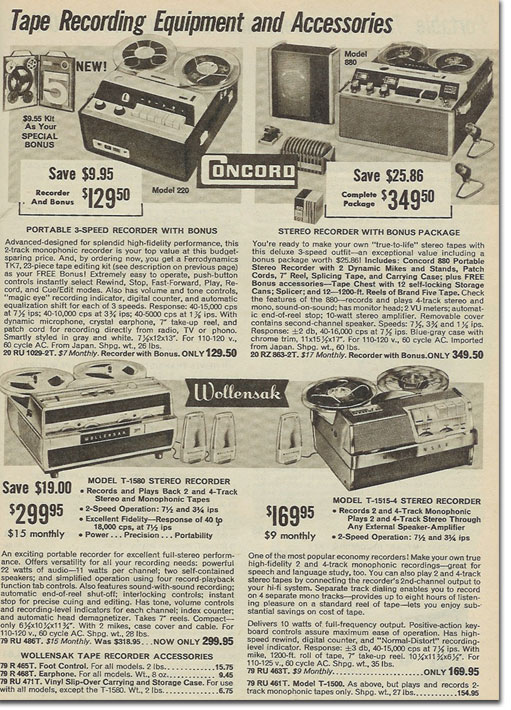 picture of tape recorders in the 1963 Allied Radio Holiday catalog