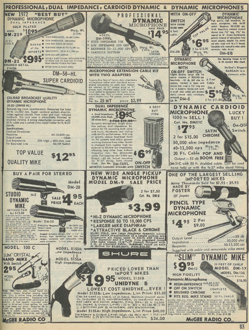 picture of microphones for sale in the 1973 McGee radio catalog