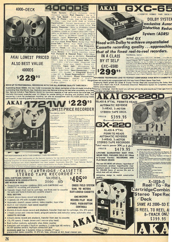 picture of tape recorders for sale in the 1973 McGee radio catalog