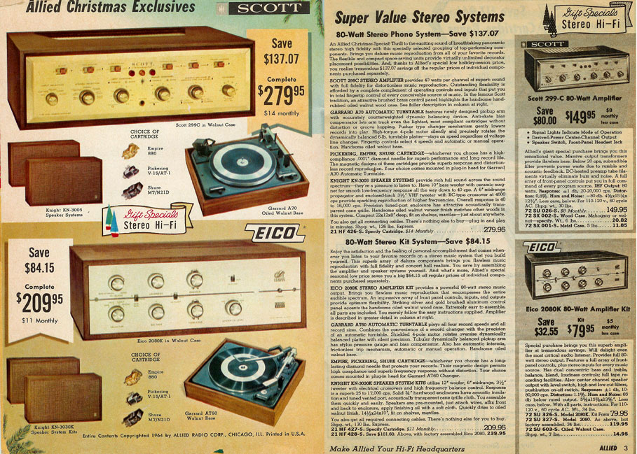 picture of Eico & Scott amplifiers for sale in the 1964 Allied Radio Holiday catalog