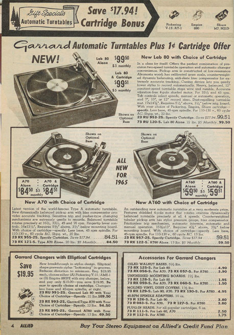 picture of Garrard turntables for sale in the 1964 Allied Radio Holiday catalog