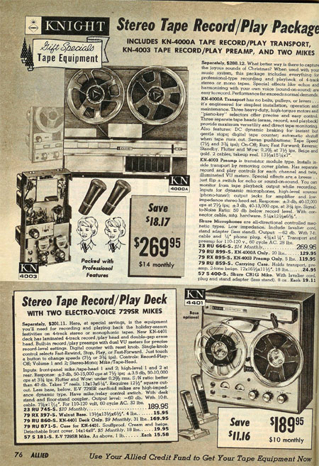 picture of tape recorders for sale in the 1964 Allied Radio Holiday catalog