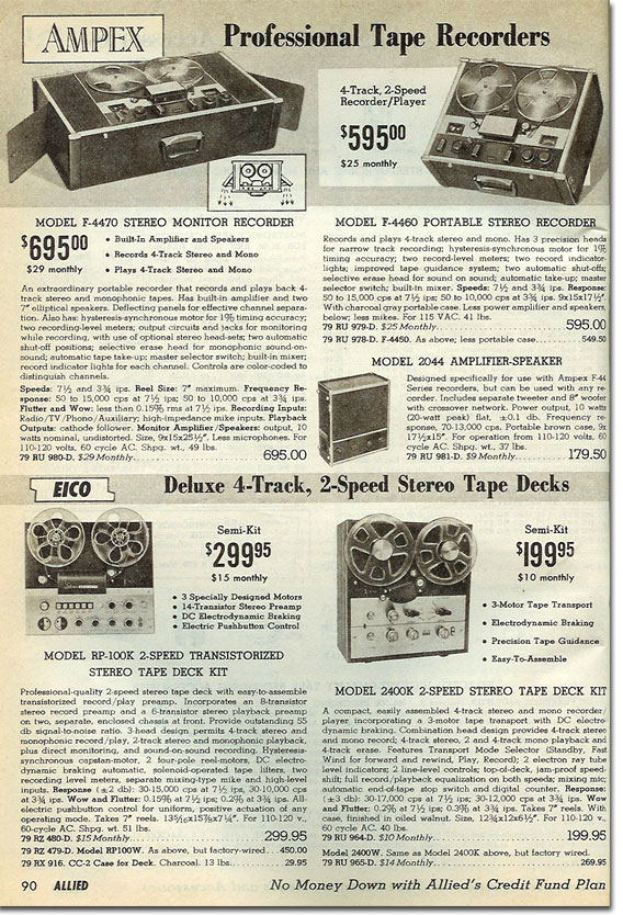 picture of tape recorders in the 1964 Allied Radio catalog